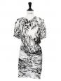 Robe drapée en soie imprimé graphique noir blanc gris Px boutique 1400€ Taille 36