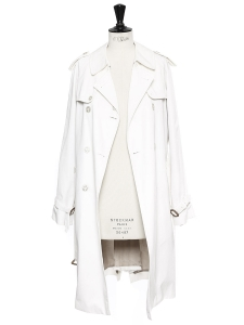 White cotton double breasted and belted trench coat Retail price €990 Size 36