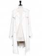 Manteau trench en toile coton blanc à boutonnière double et ceinture Px boutique 990€ Taille 36