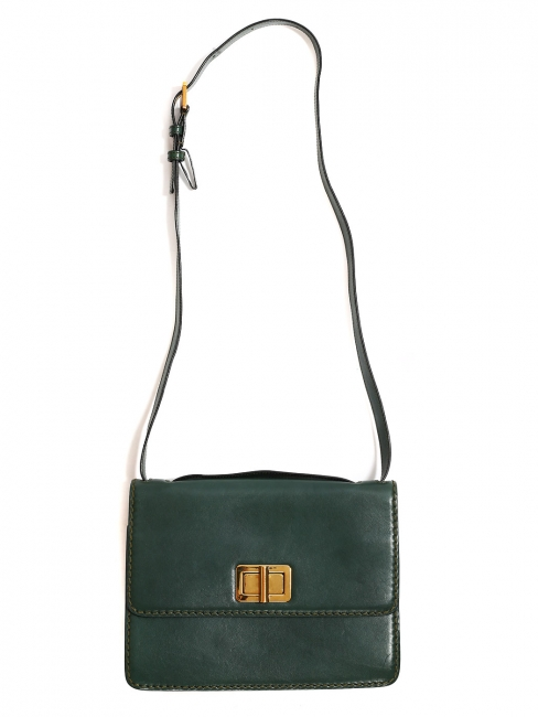 LOUISE english green leather satchel cross body bag NEW Retail price 1600€