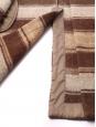 Manteau veste en drap de laine et mohair à rayures beige camel et marron chocolat Prix boutique $2195 Taille 38