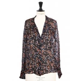 Chemise col Mao en soie imprimée fleuri bleu et orange Px boutique 550€ Taille 36