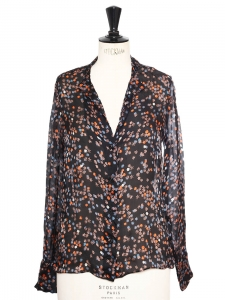Chemise col Mao en soie imprimé fleuri noir, bleu, orange Px boutique 550€ Taille 36