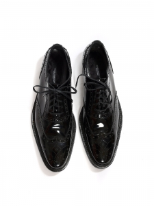 Black patent leather perforated leather brogue shoes Retail price €475 Size 38.5