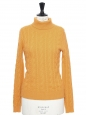 Curcuma orange cashmere cable knit turtleneck sweater Retail price €300 Size S/M