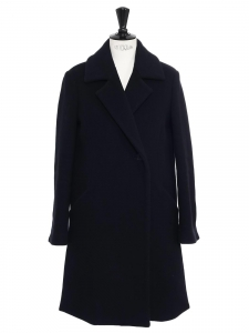 Mid-length navy blue cashmere and wool coat Retail price €855 Size 36