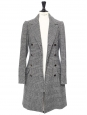Grey glen plaid wool-blend double-breasted coat Retail price $865 Size 36