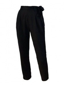 Black cotton high waist pants with tied belt Size 34