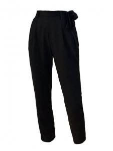 Pantalon taille haute ceinture noeud en coton noir Taille 34