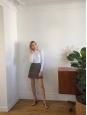 Jupe taille haute bleu marine imprimée fleurie jaune et ocre Prix boutique 120€ Taille 0 / 34