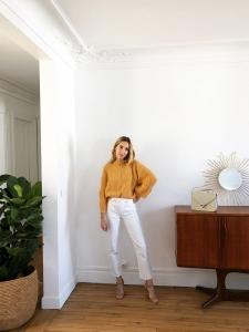 Pull Vicki Cable en maille jaune orangé Prix boutique 220€ Taille S