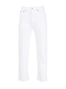 HIGH RISE STOVE PIPE white jeans with fray hem Retail price €205 Size 24