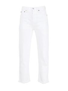 Jean HIGH RISE STOVE PIPE blanc taille haute évasé et effiloché au bas Prix boutique 205€ Taille 24