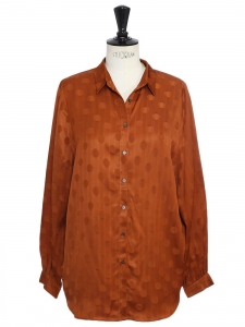 Glazed ginger brown dot jacquard long sleeves shirt Retail price €207 Size S