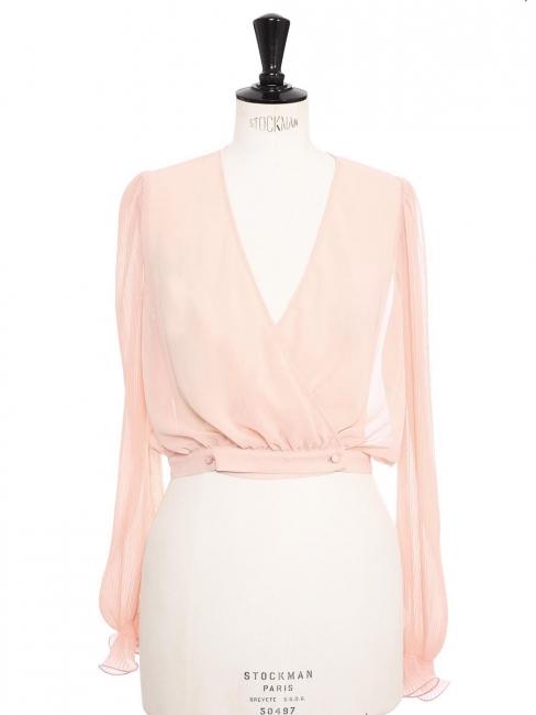 Blouse manches longues à volants en mousseline plissée rose poudre Prix boutique 150€ Taille S/M