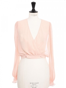 Powder pink pleated chiffon long sleeves blouse with ruffles Retail price €150 Size S/M