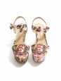 Pink and green floral print canvas BIANCA wedge sandals Retail price €575 Size 40