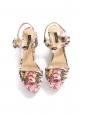 Sandales compensées en toile fleuri rose et vert Prix boutique 575€ Taille 40