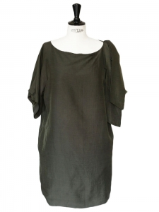 Dark green wool and silk short sleeves dress Retail price 1200€ Size S