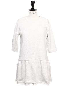 Mini robe charleston col rond en coton molletonné gris chiné Taille 36