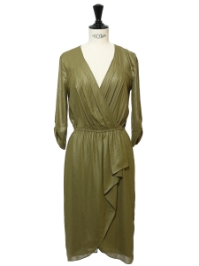 Tabea chartreuse green wrapped dress Retail price €260 Size XS