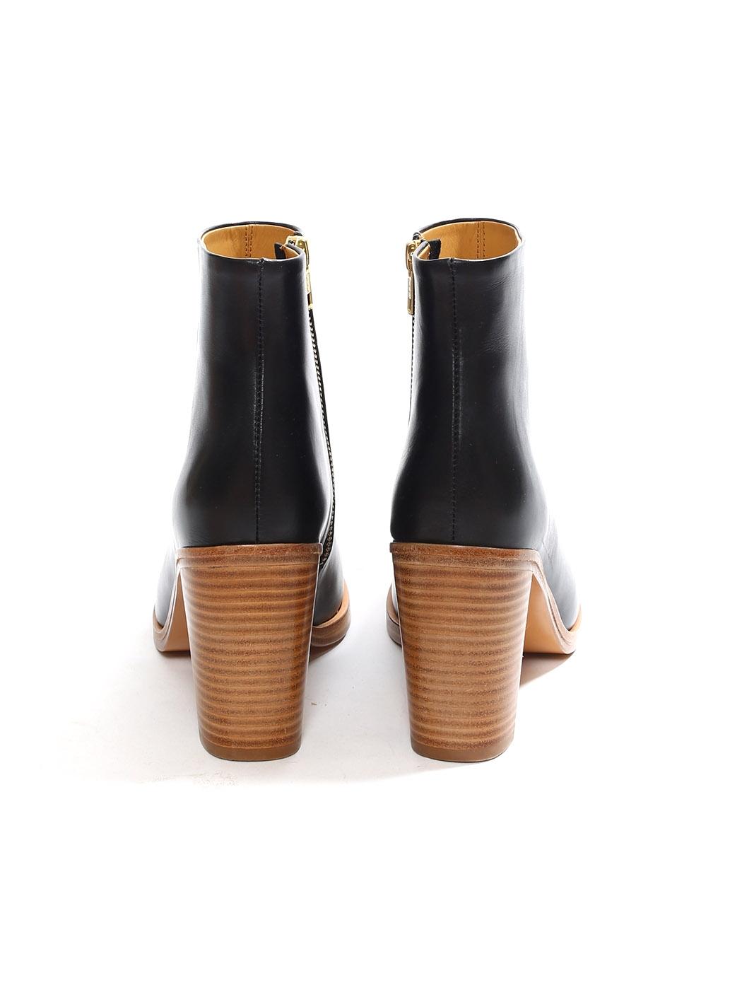 Louise Paris APC Bottines boots Chic à talon en cuir noir