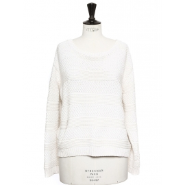 Ecru white heavy knitted cotton sweater Retail price €180 SIze M to L