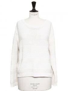 Pull ample col rond en grosse maille de laine blanc écru Px boutique 180€ Taille 36
