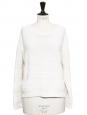 Pull ample col rond en grosse maille de coton blanc écru Prix boutique 180€ Taille 38/40
