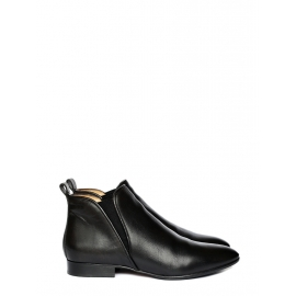 PIPER Black leather flat ankle boots Retail price €550 Size 41