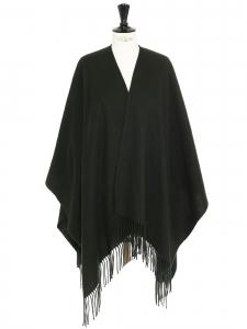 RIANI Poncho à franges en laine vert foncé Prix boutique 230€ Taille unique