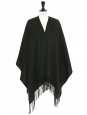 Dark green wool poncho with fringes NEW Retail price €230 Unique size