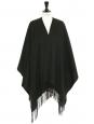 Poncho à franges en laine vert foncé NEUF Prix boutique 230€ Taille unique