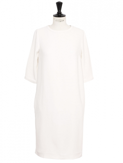 White crepe 3/4 sleeves mid-length dress Retail price €370 Size 36