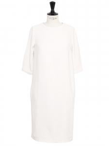 Robe mi-longue manches 3/4 en crêpe blanc Prix boutique 370€ Taille 36