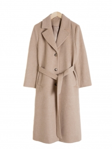 Beige wool and alpaga belted maxi coat NEW Size 38