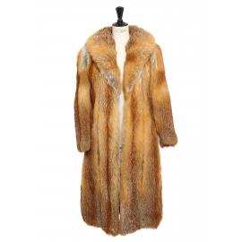 Manteau long en fourrure de renard roux Taille 38