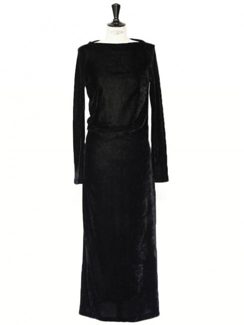 Robe longue en velours noir manches longues et drapé asymétrique Prix boutique 950€ Taille 36