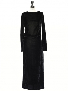 Black velvet long sleeves draped long dress Retail price €950 Size XS