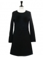 Black thin wool crepe long sleeved dress Retail price €1100 Size 36