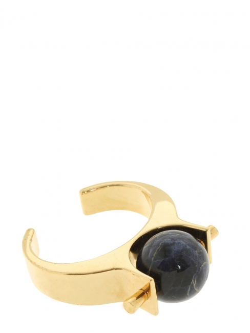 Bracelet manchette ABBY en laiton doré et pierre noire Prix boutique 590€