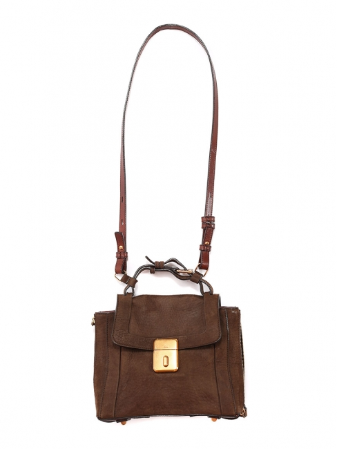 Sac DARLA en cuir et suède marron chocolat Prix boutique 1105€