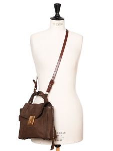 DARLA Chocolate brown leather and suede handbag Retail price €1105