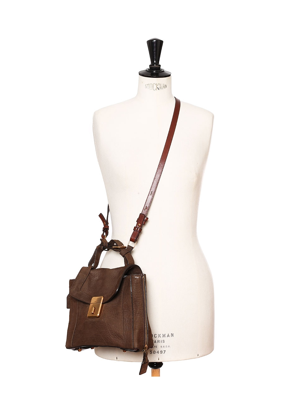14a4fa6647 Louise Paris - CHLOE DARLA Chocolate brown leather and suede handbag Retail  price €1105