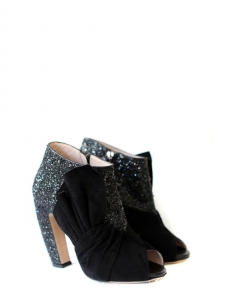 Black glitter and suede low / ankle peep toe boots Retail price 650€ Size 37.5