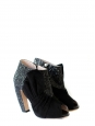 Black glitter and suede peep toe low ankle boots Retail price 680€ Size 37.5