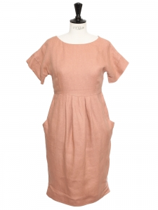 UTERQUE pink linen cinched dress Retail price €150 Size S