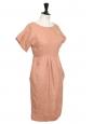 Robe UTERQUE cintrée manches courtes en lin rose Prix boutique 150€ Taille S