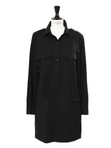 Black wool long sleeved dress Retail price €800 Size 40