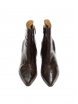 Brown croco embossed pointy toe heeled ankle boots Retail price €600 Size 36.5